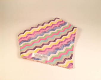 CLEARANCE-bandana bib - Rainbow Stripes - pink Terry