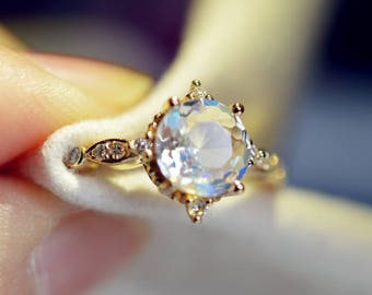 Moonstone Engagement Ring 18k Gold Moonstone Wedding Ring Antique Moonstone Engagment Ring Diamond Moonstone Wedding Ring RoseGold Moonstone