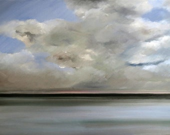 Stormy sky, oil on canvas - original work - figurative painting