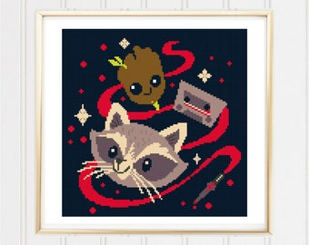 Baby Groot cross stitch pattern/guardians of the galaxy/dancing groot/groot cross stitch/i am groot/baby superhero#03-020