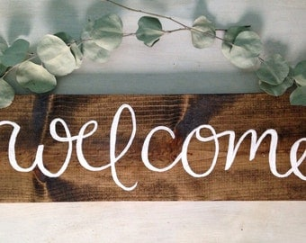 "Welcome Sign | Rustic wood welcome sign, 7.5"" x 24"", Hand Painted Sign, Rustic wood sign, front door welcome sign, home decor, porch sign"