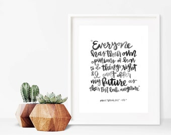 Opinions // A4 Calligraphy Poetry Line Print