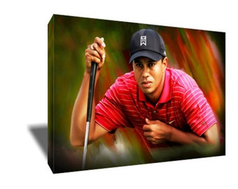 FREE SHIPPING Golf Icon Tiger Woods Eye of the Tiger Canvas Art