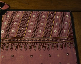 Trichy series 3: cotton table runner, old pink patterned black and white, vintage sari.