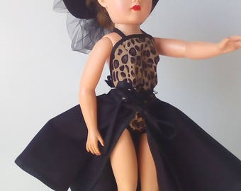 18 inch Miss Revlon doll dress. Faux leopard skin playsuit with matching hat.