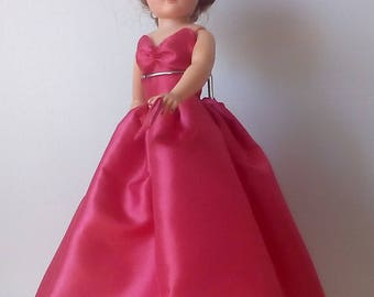 18 inch Miss Revlon full length doll dress. Orange Red taffeta dress with matching hat and purse.