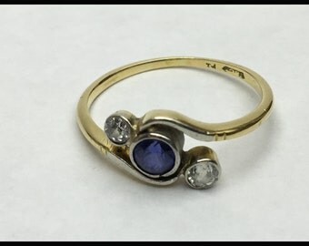 Art Deco Sapphire and Diamond Ring, Right Hand Ring, Alternative Engagement Ring