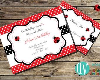 Ladybug Birthday Invitation Printable  5x7 or 4x6 and FREE Thank You Card Printable 5x3.5