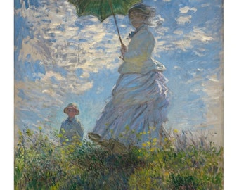 Claude Monet : Woman with a Parasol - Madame Monet and Her Son (La Promenade) (1875) Canvas Gallery Wrapped Wall Art Print