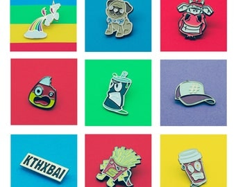 Enamel Pin Badge SECONDS Sale  |  Lapel Pin Badge Sale  | Pug |  Coffee  | Cow  | Baseball Cap | Super Hero Super Fry | Candy Corn  | Badges