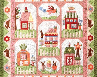 "Sale - Bunny Town Quilt Kit - 68"" x 54-1/2"" - Block of the Month Kit - Maywood Studios Poppies Fabrics - The Quilt Company patterns"