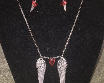 Swarovski Winged Heart Necklace & Earrings