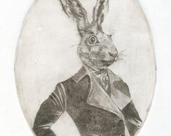 "Original Etching ""Mr Rabbit"""
