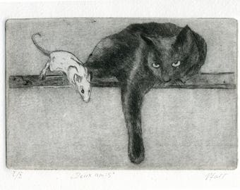 "Original Etching ""Two friends"""
