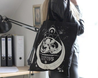handprinted cotton tote moon catskull occult