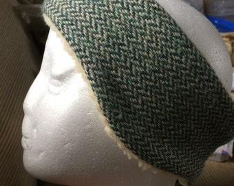 Green herringbone tweed headband