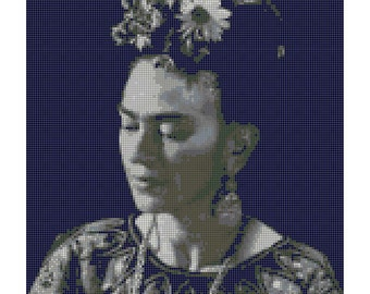 Frida Kahlo Black White Counted Cross Stitch Pattern-Frida Kahlo Portrait-Needlecraft-Embroidery-Modern Cross Stitch Pattern