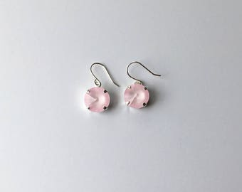 Handmade Earrings - Made with Swarovski Crystal (Light Pink)
