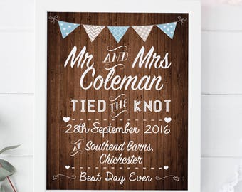 Personalised Wedding Day Print Mr and Mrs Gift