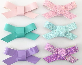 Set of Glitter Hair Bows | Summer Hair Clips | Glitter Hair Clips | Pastel Hair Clips | Toddler Hair Clips | Baby Hair Clip | Hair Clip Set