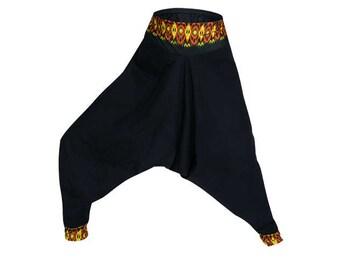 Cotton Harem pants Women Yoga pants Black Neon