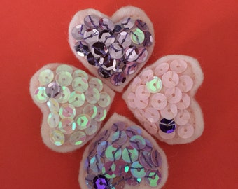 Felt and sequin heart broaches