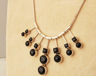Necklace in silver 925 and stones in ONYX