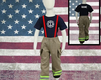 Cute Toddler Firefighter Birthday Outfit Tan Pants
