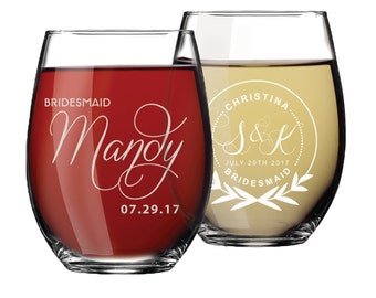 Custom Stemless Wine Glasses, Personalized Wine Glasses, Bridesmaid Gift, Bridesmaid Wine Glasses, Etched Wine Glasses, Custom Wine Glasses