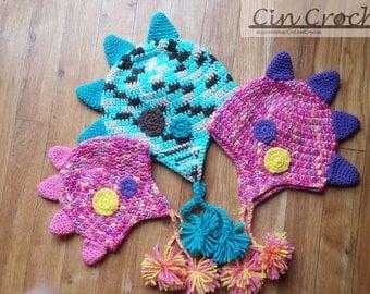 Crochet Dinosaur Hat, Crochet Dino Beanie,  Spiky Dino Hat, Winter Hat
