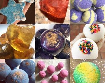 handmade bath bomb fizzie soap vegan gluten free gift set