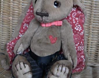 Artist Bunny, teddy bear, OOAK, embroidery, handmade gift, gift, handmade, artist teddy
