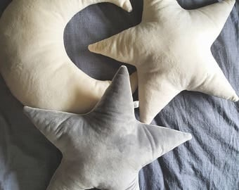 Set of pillows: two stars and moon or star, moon and cloud