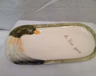 White decorated Foie Gras serving dish  28 x 14 cm size
