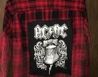Distressed Up-Cycled ACDC Flannel