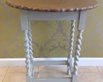 Oak side/hall table with barley twist legs.