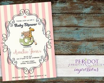 Printable 5x7 - Pink Stripes Retro Vintage Baby Shower  Invitation