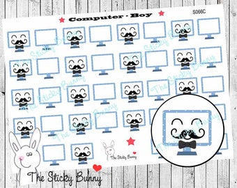 Computer - Planner Stickers for Erin Condren, Happy Planner, Kikkik, Filofax (S066)