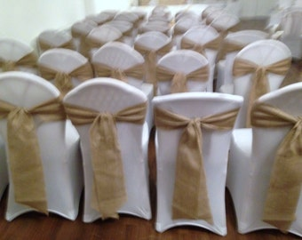 90 x Hessian sashes for wedding/party chairs - 2.4m x 15cm