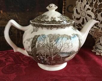 Johnson Brothers Ironstone Transferware The Friendly Village, The Sugar Maple Teapot