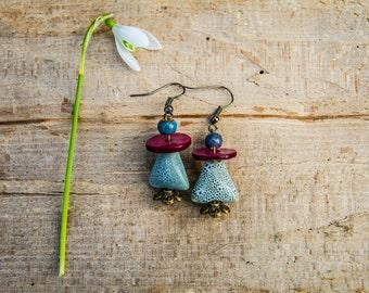 Spring Earrings, Porcelain, Ceramic, 2,5 cm, Strong Colors, Unique, Bronze, Leight blue