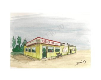 """Print of """"Burger Bar"""", a watercolor and ink painting of a restaurant in the small town of Boyle, Alberta, Canada with excellent egg rolls"""