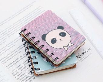 Kawaii Animal Coil Mini Notebook,Palm-Sized,Dairy, Hard Cover,Thick Notebook,Pocket Size,Journal,Cute,Korean,Giraffe,Penguin,Panda, Whale,