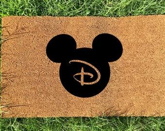 Personalized Disney doormat, mickey initial door mat, Letter D doormat, Wedding Gift, Anniversary Gift, Gifts for couples, Housewarming gift