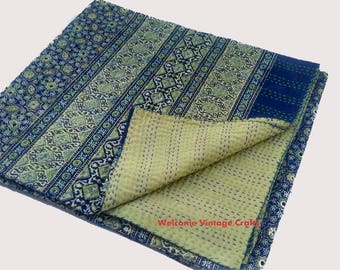 Vintage Indian Kantha Quilt Handmade hand block print 100% Cotton Bed cover Bedspread Blanket Queen size/ Twin size/ King size Quilt throw