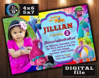 TROLLS MOVIE Birthday Invitation, CUSTOM Digital File, Any age, With Photo (D#2)