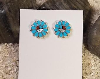 Zuni Inlay Sunface Stud Earrings
