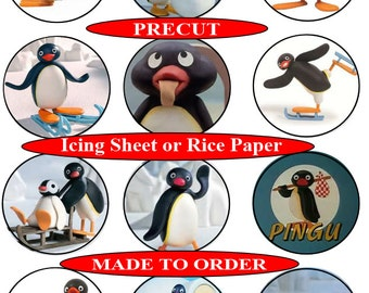 Pingu pre-cut edible cupcake toppers, 2 sizes