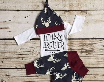 Baby Boy Coming Home Outfit, newborn boy coming home outfit, newborn boy, little brother, woodland