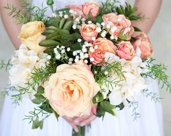 Peach Blush Silk Flower Bridal Bouquet, Wedding Bouquet,  Blush Wedding Flowers, Roses, Hydrangea